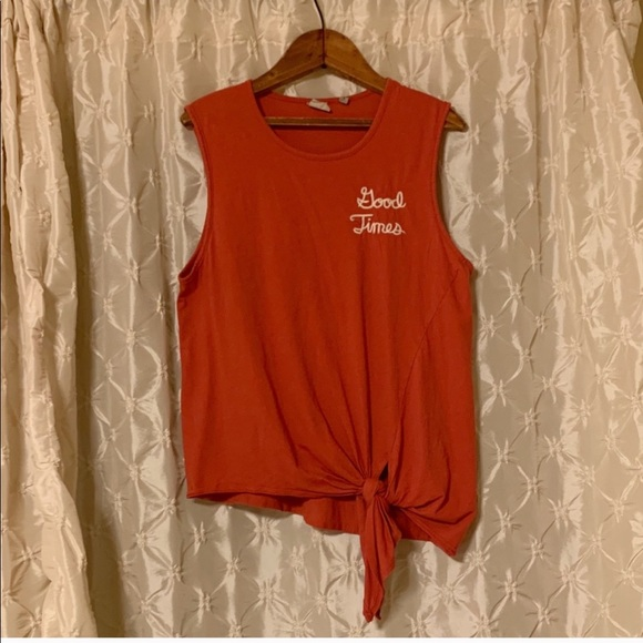 "Junk Food Clothing Tops - Junk Food ""good times"" Tie Front Tank Top Disney"